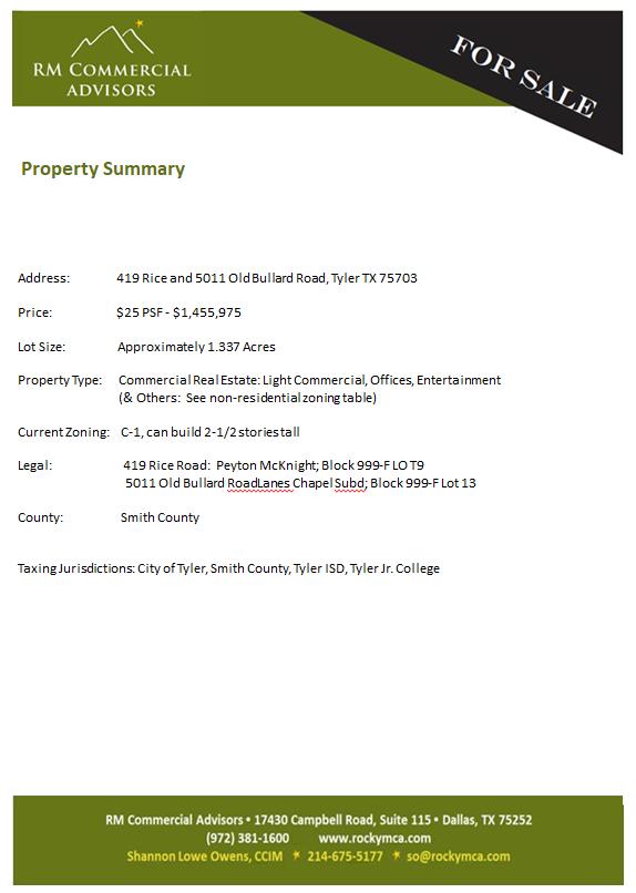 ~Property Summary 419 Rice-5011 Old Bullard Rd